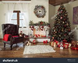 beautiful decorated living room christmas tree stock photo