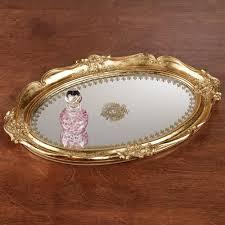 Makeup Vanity Tray Adina Gold Scalloped Mirrored Vanity Tray