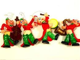 4 mold musical clown ornaments mid century