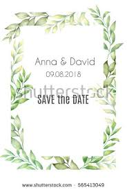 save the date birthday cards cards templates watercolor green stock illustration