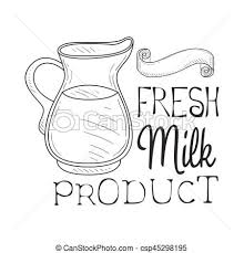 fresh milk product promo sign in sketch style with glass eps