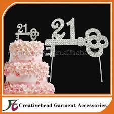 rhinestone number cake toppers silver base number 21 key birthday cake topper rhinestone