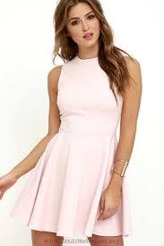 Womens Light Pink Dress Cute Light Pink Dress Skater Dress Funnel Neck Dress 49 00