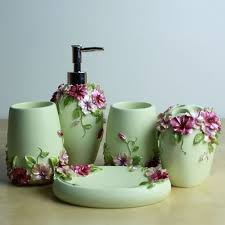 Modern Bathroom Accessories Sets Fashion And Gorgeous 5 Pcs Resin Bathroom Accessory Set Flower