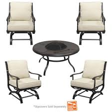 Patio Furniture Sets With Fire Pit by Hampton Bay Redwood Valley 5 Piece Patio Fire Pit Seating Set With