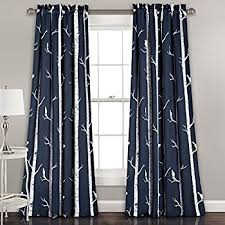 Curtains Birds Theme Pair Of Tree And Bird Pattern Curtains Each Panel
