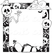 halloween paper border clipart of a black and white cemetery and skeleton halloween
