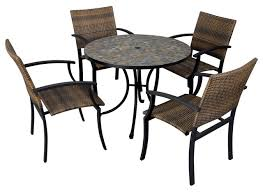 Newport Patio Furniture by Stone Harbor 5 Piece Slate Dining Set With Newport Armchairs