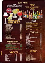 cocktail drinks menu menus la fogata mexican restaurant kitty hawk outer banks nc