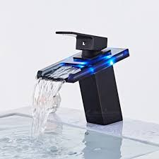 black faucet orb finish led light waterfall bathroom sink faucet tap black