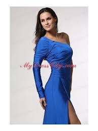 blue long sleeve one shoulder prom dress with high slit