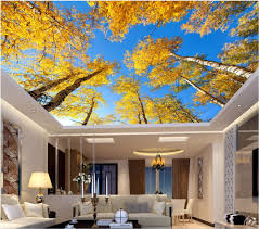 compare prices on birch trees leaves online shopping buy low 3d ceiling murals wall paper yellow leaves the sky white birch trees decor painting 3d wall