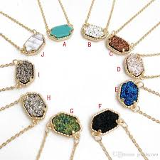 stone colored necklace images Wholesale hot popular druzy necklace various silver gold plated jpg