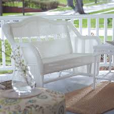 white resin wicker outdoor 2 seat loveseat glider bench patio