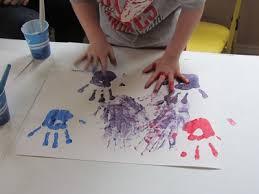 handprint color mixing in preschool color mixing hands and
