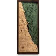 Map Chicago by Chicago Illinois Wood Map 3d Nautical Topographic Chart Framed Art
