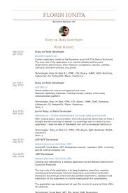 Sample Resume Net Developer by Ruby On Rails Developer Resume Samples Visualcv Resume Samples