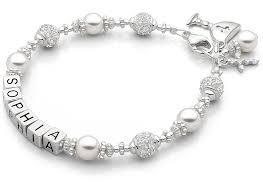 communion jewelry girl s princess pearl communion name bracelet