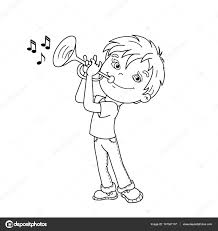 coloring page outline of cartoon boy playing the trumpet musical