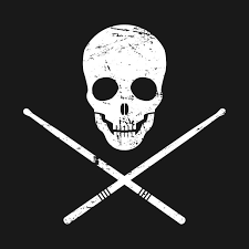 skull and drumsticks design for drummers percussion t shirt