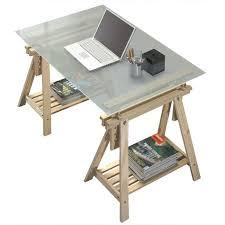 bureau en verre bureau tréteaux inclinable avec plateau verre givré achat vente