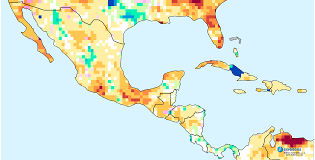 Map Of Southern Caribbean by Mexico Central America U0026 The Caribbean Water Deficits Forecast