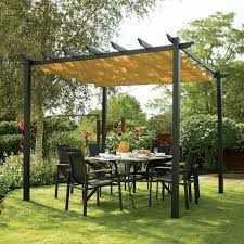 Metal Pergolas With Canopy by Rowlinson Latina Freestanding Gun Metal Grey U0026 Taupe Canopy With