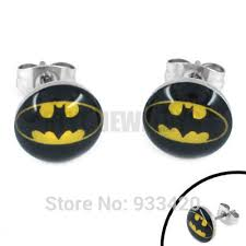 batman earrings free shipping enamel batman earring piercing stainless steel