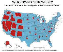 Western Us Map Who Owns The Western Us Federal Land As A Percentage Of Total