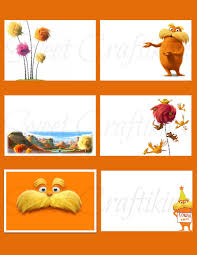 lorax coloring book diy printable food cards table tent labels dr seuss u0027 the lorax