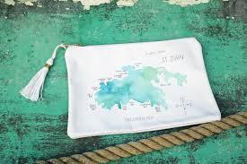 St John Map St John Watercolor Island Map Canvas Tassel Pouchette