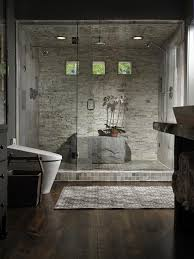 contemporary master bathroom with hardwood floors by kimberly