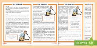 ed sheeran biography pdf ks2 ed sheeran differentiated fact file ks2 music artist