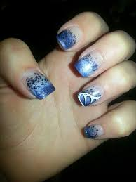 acrylic nail art glitter navy blue faded french tip with white
