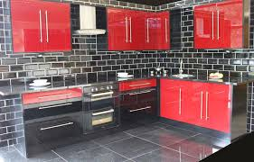 High Gloss Kitchen Cabinets by Red High Gloss This Red And Black High Gloss Kitchen Complete