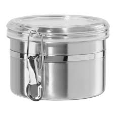 Stainless Steel Canisters Kitchen Amazon Com Oggi 62 Ounce Stainless Steel Canister With Clear