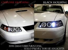 mustang projector headlights 99 04 ford mustang black housing dual projector led headlights