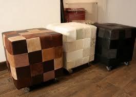 pouf bout de canapé pouf cube patchwork marron pouf design