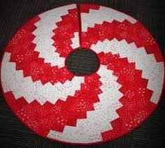 Peppermint Twist Tree Skirt Using 48 Peppermint Twist Shaped And White Velvet