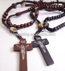 catholic necklace fashion rosary string cord necklaces with cross pendant catholic