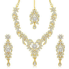 ladies necklace sets images Sukkhi gold plated australian diamond necklace with drop earrings jpg
