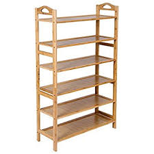 Shoe Rack by Songmics Bamboo 6 Tier Shoe Rack 18 24 Pairs Entryway