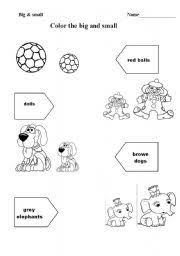 kindergarten activities big and small english teaching worksheets big or small