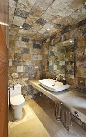 bathroom brown framed wall mirror with side lighting for bathroom