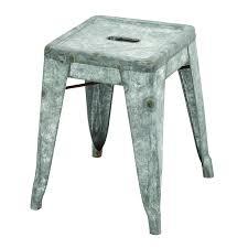 benzara classic galvanized metal garden stool walmart com