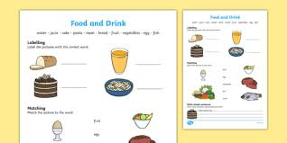 and drink activity sheet worksheet