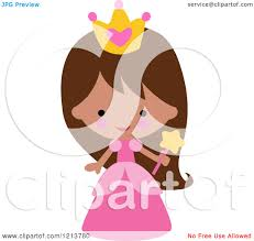 cartoon of a cute in a pink princess halloween costume