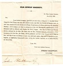 Society Letter Before Jewry Society Letter 1825