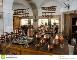 old country style kitchen with copper pots stock photo image