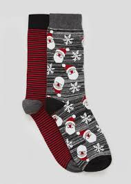 mens christmas socks mens 2 pack santa christmas socks matalan
